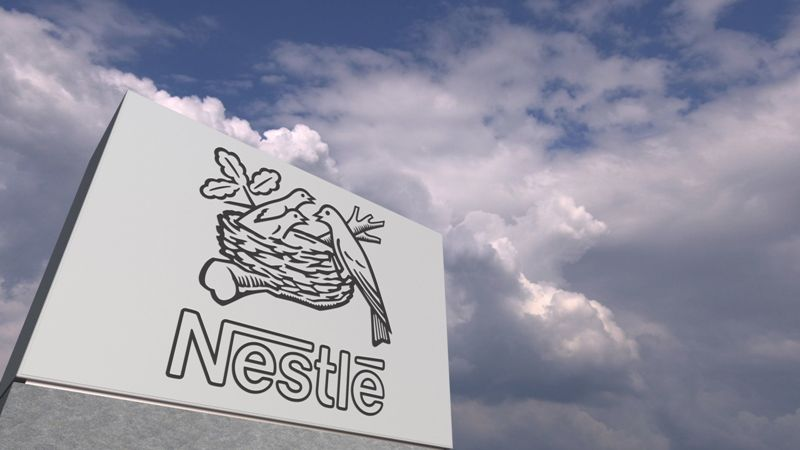 nestle, company, logo, corporate, sky, clouds, stand, rack, outdoor, 3d rendering, business, advertisement, official, concept, conceptual