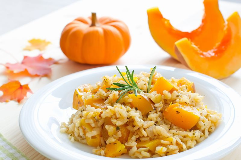 vegetables, italian, vegetarian, orange, risotto, cheese, rice, pumpkin, food, meal, yellow, dinner, lunch, parmesan, grain, table, vegan, autumn, culture, products, life, fruits, dishware, squash, napkin, healthy, cuisine, dieting, gourmet, roasted, season, cooked, ingredient, rosemary, fall, plate